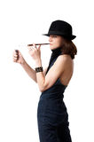 Woman with cigarette holder Stock Photo