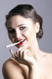 Woman with cigarette Royalty Free Stock Photo
