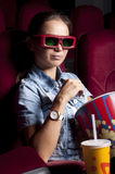 Woman at the cinema Royalty Free Stock Image