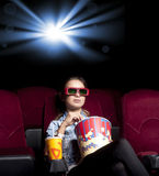 Woman in cinema Stock Photography