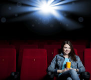 Woman in cinema Stock Photo