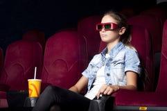 Woman at the cinema Stock Photos