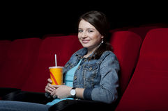 Woman in cinema Royalty Free Stock Photography