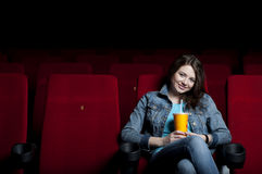 Woman in cinema Royalty Free Stock Photo