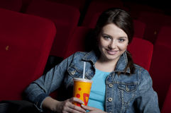 Woman in cinema Royalty Free Stock Images