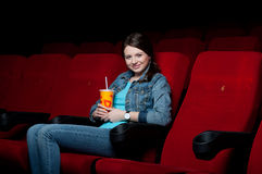 Woman in cinema Stock Photos