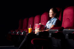 Woman at the cinema Royalty Free Stock Photography