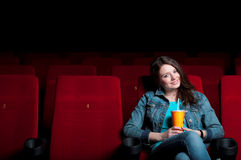 Woman in cinema Royalty Free Stock Image