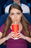 Woman in cinema. Royalty Free Stock Images