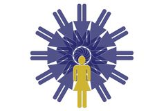 Woman circle. Rotated woman - multiplied vector illustration