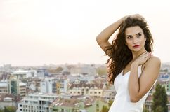 Woman and the city Royalty Free Stock Photo