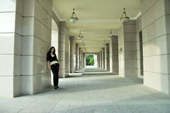 Woman at city background Royalty Free Stock Photography