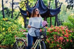 A woman with city bicycle near traditional chinese pavilion in a park. Portrait of attractive female with city bicycle near traditional chinese pavilion in a Royalty Free Stock Photos