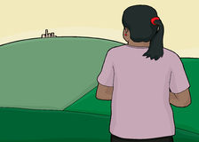 Woman and City on Green Hills stock illustration