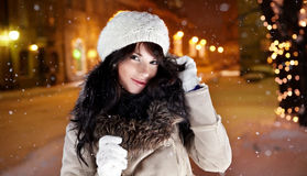 Woman in city at night. Royalty Free Stock Images