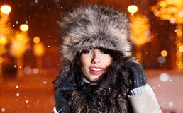 Woman in city at night. Royalty Free Stock Photography