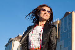 Woman on city street Royalty Free Stock Photography