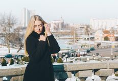 Woman And City royalty free stock photography