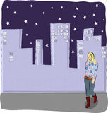 Woman with cityscape. Illustration of young woman walking with cityscape in background Stock Photos