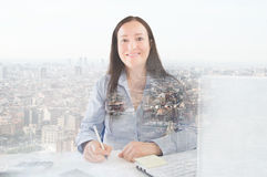 Woman a cityscape Stock Image