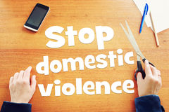 Woman claims to stop domestic violence royalty free stock photo