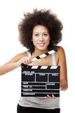 Woman with  clapboard Stock Photo