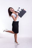Woman with clapboard Royalty Free Stock Images
