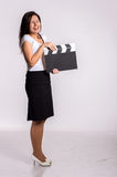 Woman with clapboard Royalty Free Stock Photo