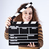 Woman with a clapper Royalty Free Stock Photos