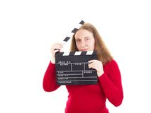Woman with clapperboard in her hands Stock Photo