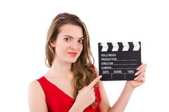 Woman with clapperboard isolated Stock Photo