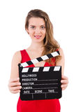 Woman with clapperboard isolated Royalty Free Stock Image