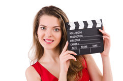 Woman with clapperboard isolated Stock Photography