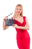 Woman with clapperboard isolated Stock Image