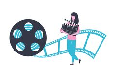 Woman clapperboard reel strip production movie film. Vector illustration vector illustration