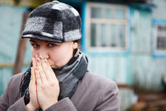 Woman with clasped hands Stock Photos