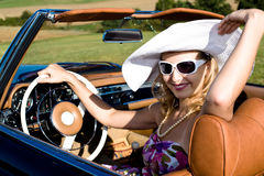 Woman and classic car Royalty Free Stock Images