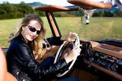 Woman and classic car Royalty Free Stock Photo
