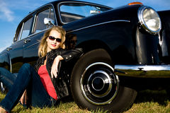 Woman and classic car Stock Photo