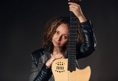 Woman with classical guitar Stock Image