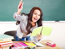 Woman in classroom. Royalty Free Stock Photo
