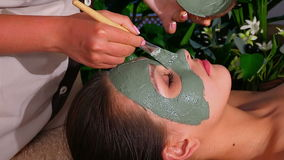 Woman with clay facial mask in beauty spa. Hands of beautician applying a mask of treatment green clay on the patient's face stock video footage