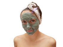 Woman with clay mask Royalty Free Stock Photography