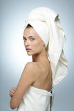 Woman with clean face after bath Royalty Free Stock Photo