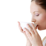 Woman with clean face drinking grean tea Stock Photo