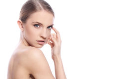 Woman with clean face over white background Royalty Free Stock Photography
