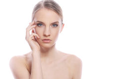 Woman with clean face over white background Stock Photo