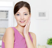 Woman with clean fresh skin of face Royalty Free Stock Image