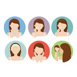 Woman clean her face. Vector illustration of woman clean her face Royalty Free Illustration