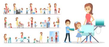 Woman clean home and doing a housework. With children set. Housewife doing everyday domestic routine and kids help her. Isolated flat vector illustration royalty free illustration